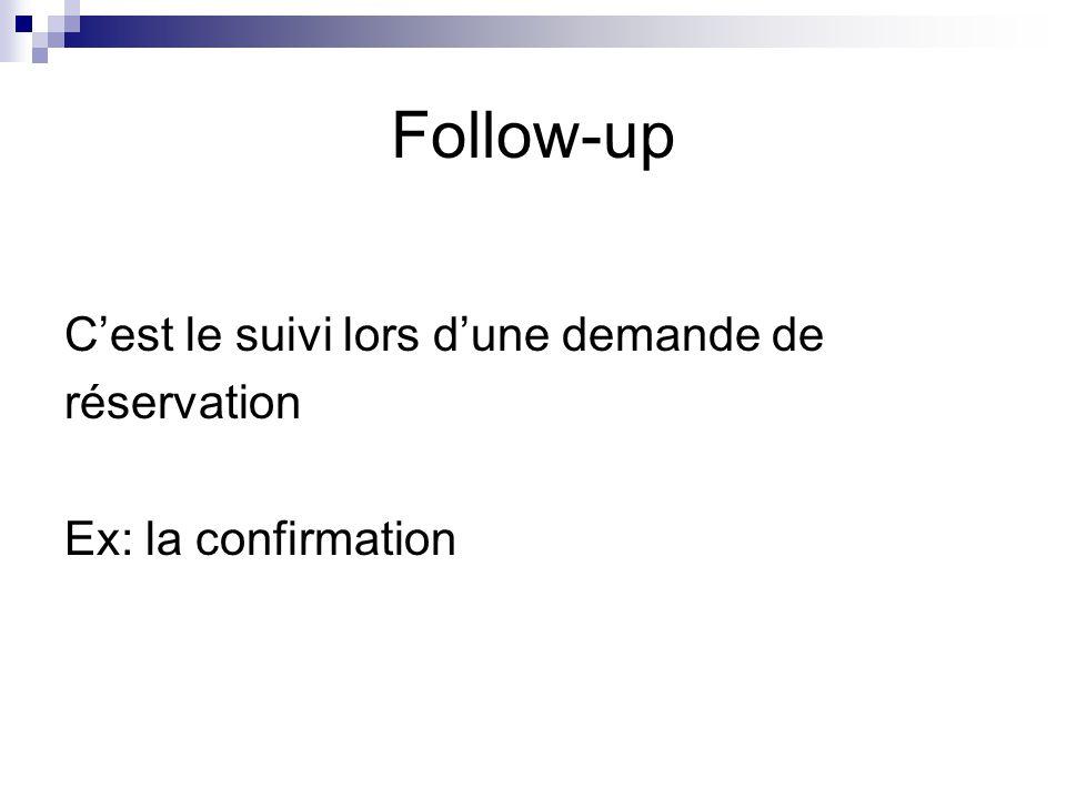 Follow-up C'est le suivi lors d'une demande de réservation Ex: la confirmation