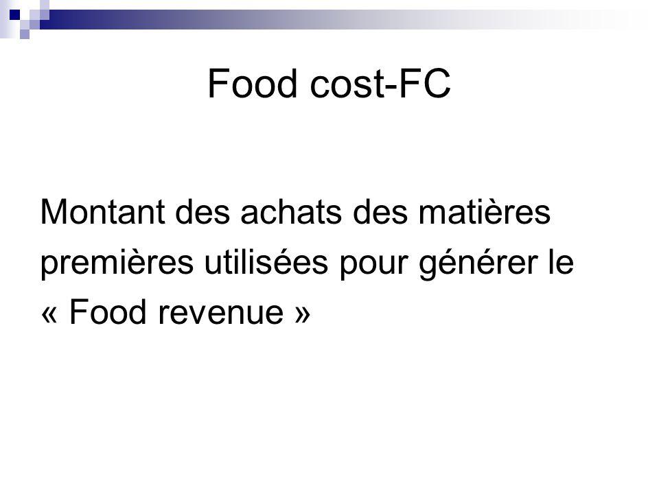 Food cost-FC Montant des achats des matières premières utilisées pour générer le « Food revenue »