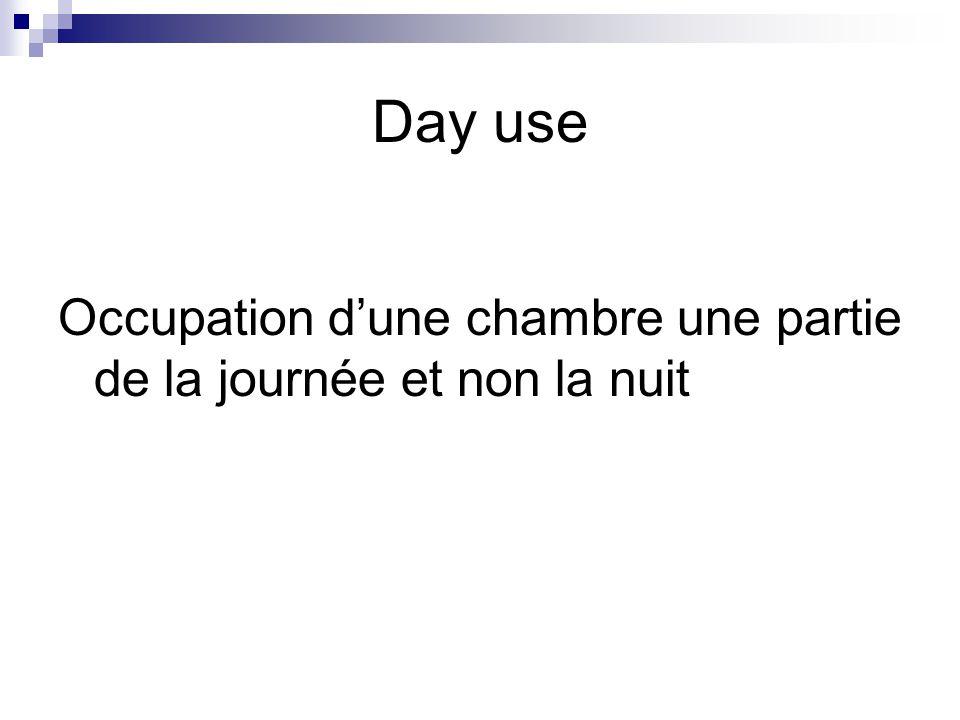 Day use Occupation d'une chambre une partie de la journée et non la nuit