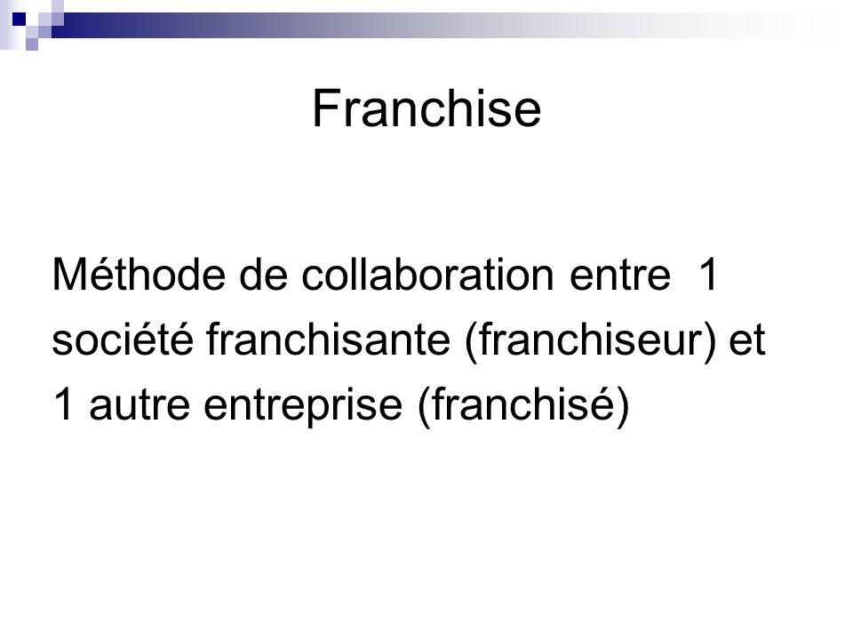Franchise Méthode de collaboration entre 1 société franchisante (franchiseur) et 1 autre entreprise (franchisé)