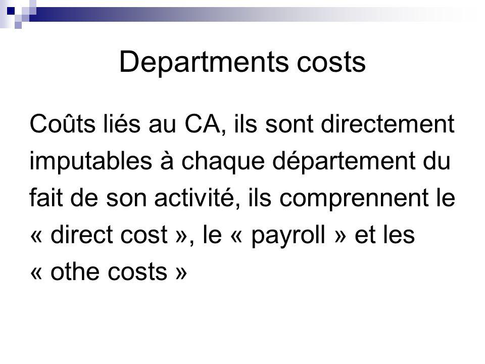 Departments costs Coûts liés au CA, ils sont directement imputables à chaque département du fait de son activité, ils comprennent le « direct cost »,