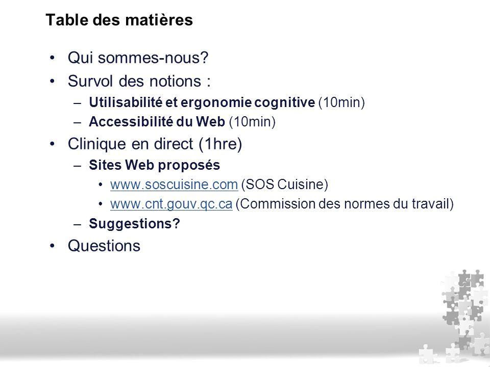 Table des matières Qui sommes-nous? Survol des notions : –Utilisabilité et ergonomie cognitive (10min) –Accessibilité du Web (10min) Clinique en direc