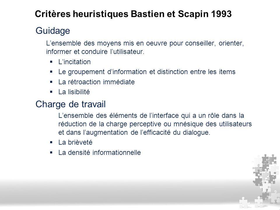 Critères heuristiques Bastien et Scapin 1993 Guidage L'ensemble des moyens mis en oeuvre pour conseiller, orienter, informer et conduire l'utilisateur