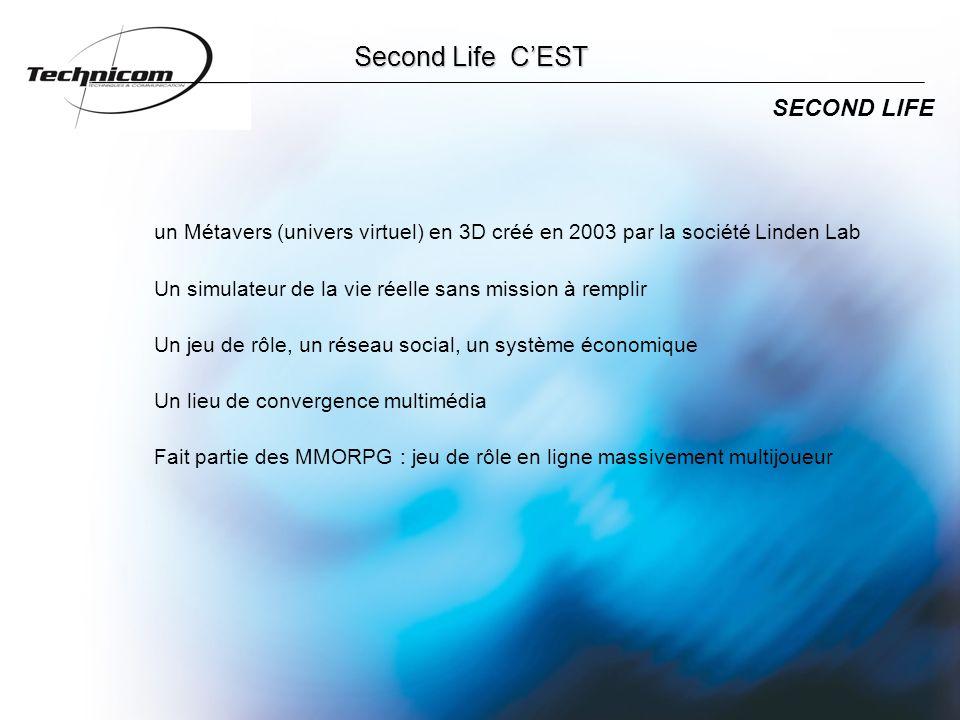 Second Life C'EST SECOND LIFE un Métavers (univers virtuel) en 3D créé en 2003 par la société Linden Lab Un simulateur de la vie réelle sans mission à remplir Un jeu de rôle, un réseau social, un système économique Un lieu de convergence multimédia Fait partie des MMORPG : jeu de rôle en ligne massivement multijoueur