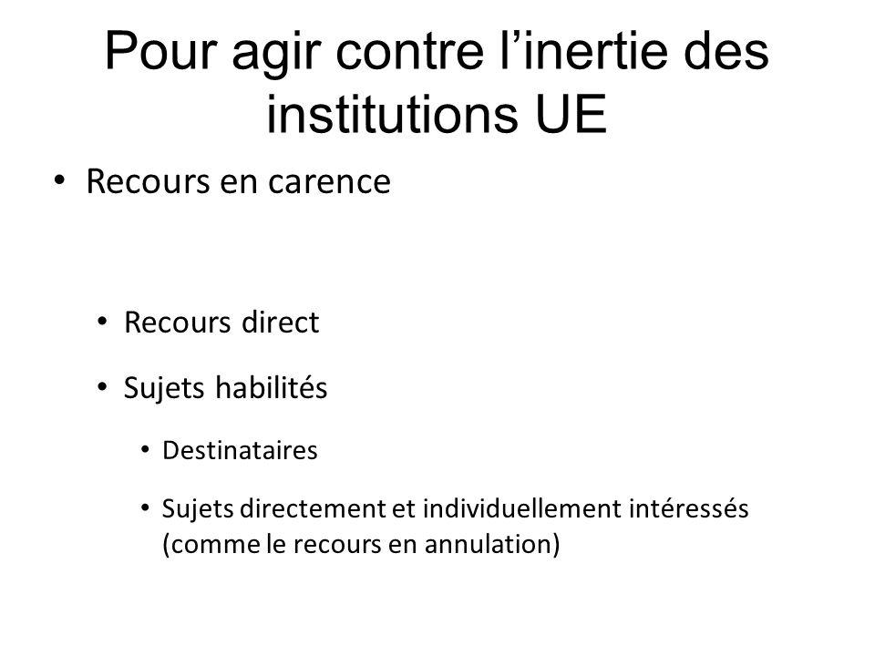 Pour agir contre l'inertie des institutions UE Recours en carence Recours direct Sujets habilités Destinataires Sujets directement et individuellement