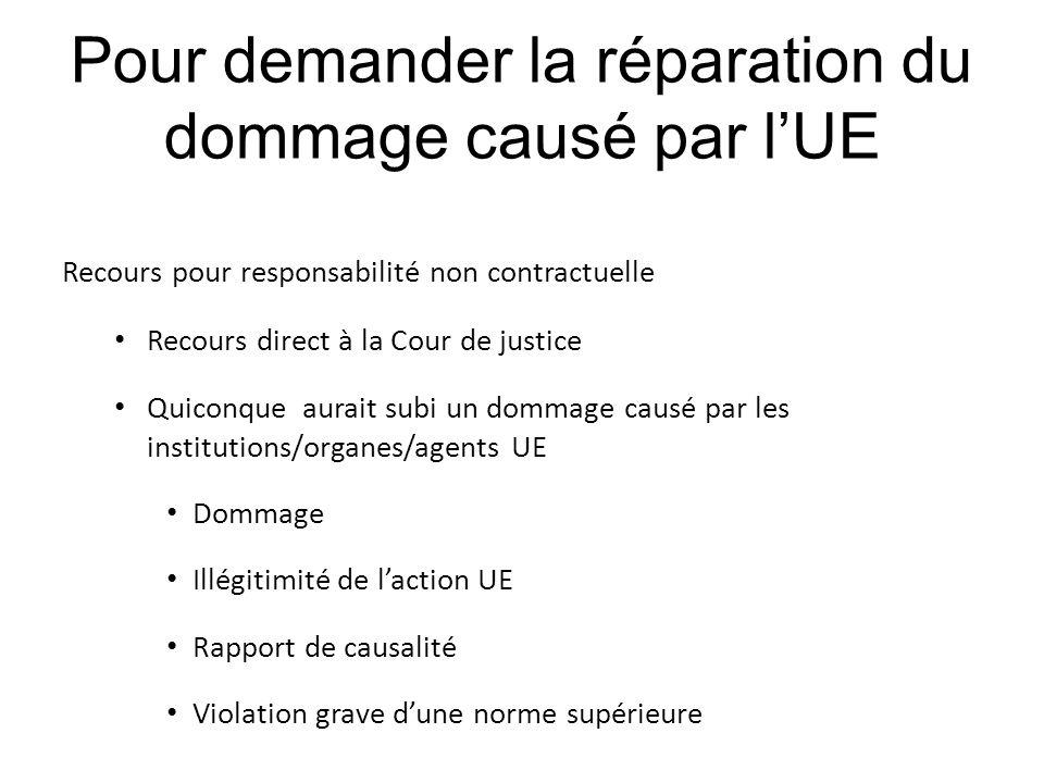 Pour demander la réparation du dommage causé par l'UE Recours pour responsabilité non contractuelle Recours direct à la Cour de justice Quiconque aura
