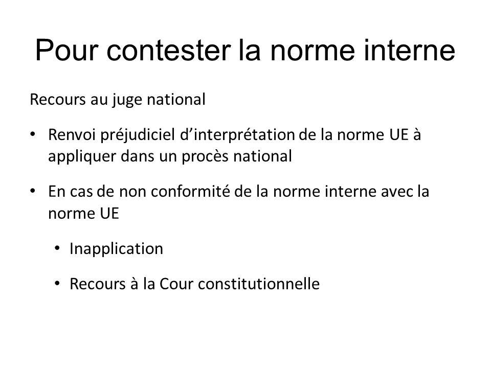 Pour contester la norme interne Recours au juge national Renvoi préjudiciel d'interprétation de la norme UE à appliquer dans un procès national En cas