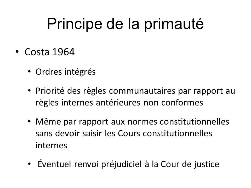 Principe de la primauté Costa 1964 Ordres intégrés Priorité des règles communautaires par rapport au règles internes antérieures non conformes Même pa