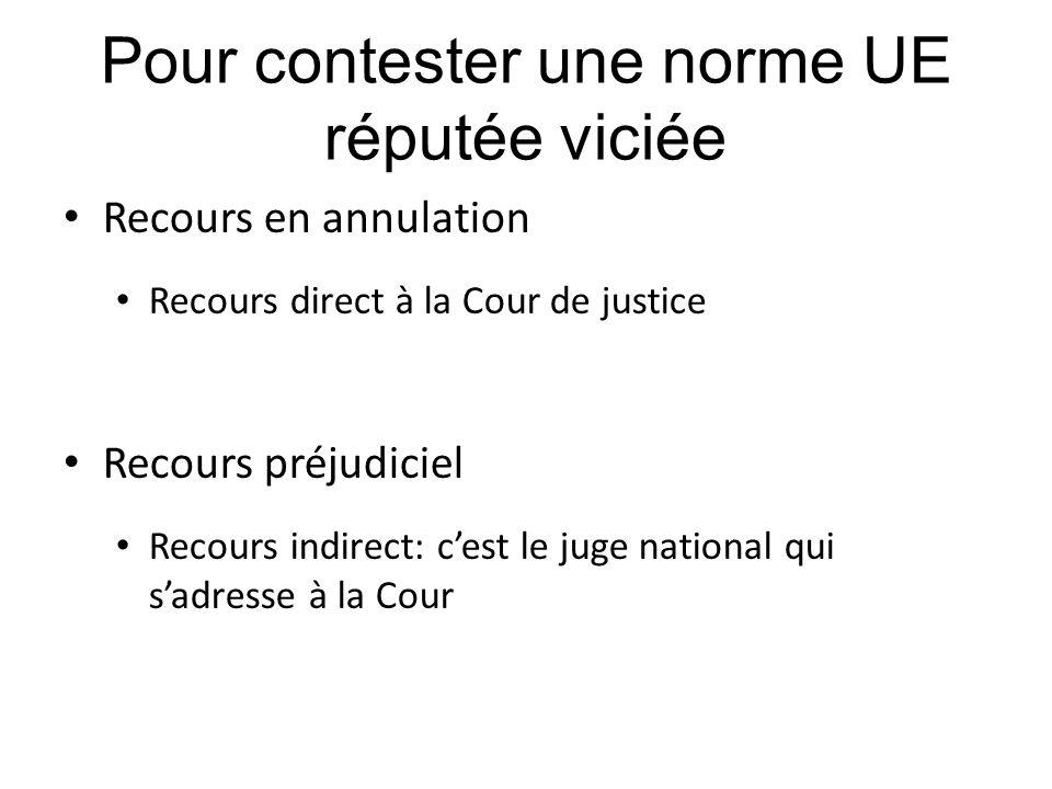 Pour contester une norme UE réputée viciée Recours en annulation Recours direct à la Cour de justice Recours préjudiciel Recours indirect: c'est le ju