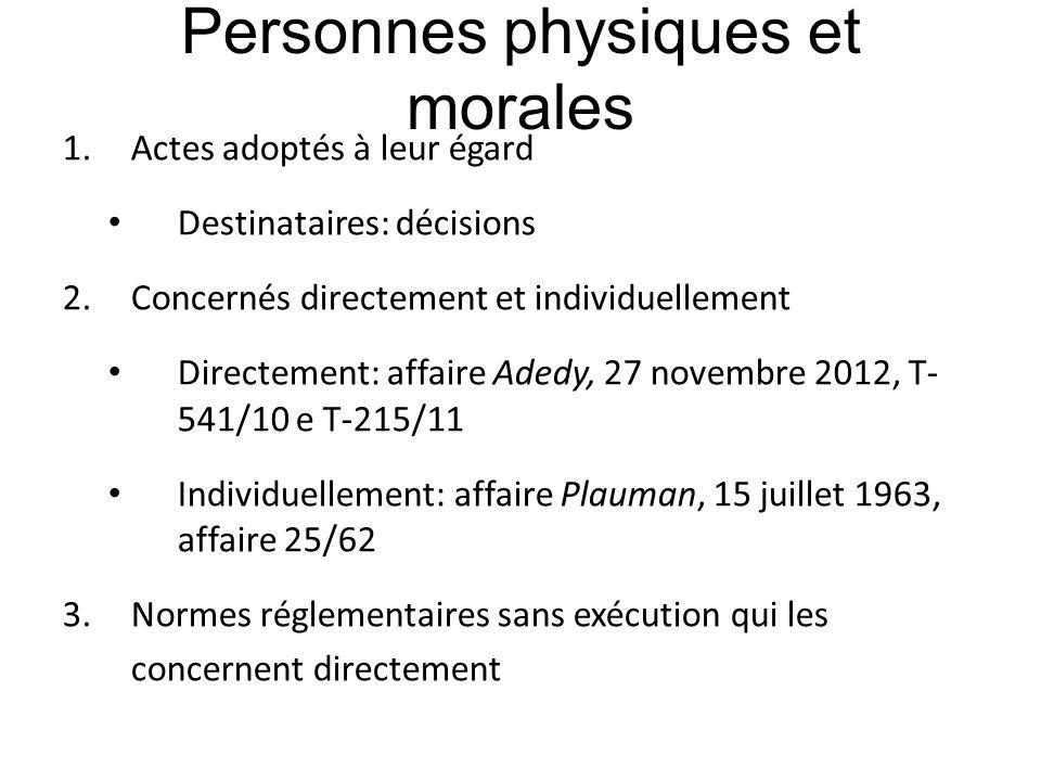 Personnes physiques et morales 1.Actes adoptés à leur égard Destinataires: décisions 2.Concernés directement et individuellement Directement: affaire