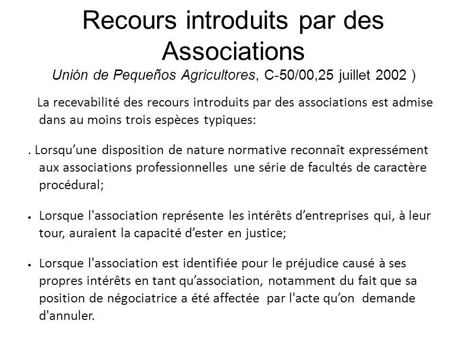 Recours introduits par des Associations Unión de Pequeños Agricultores, C-50/00,25 juillet 2002 ) La recevabilité des recours introduits par des assoc