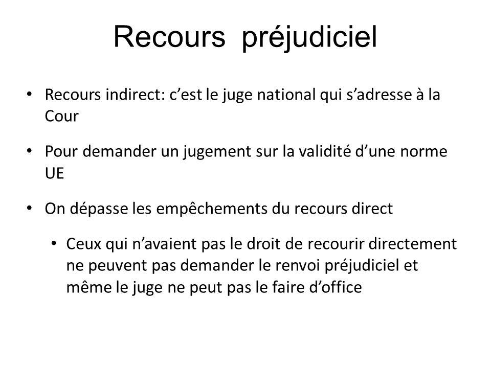 Recours préjudiciel Recours indirect: c'est le juge national qui s'adresse à la Cour Pour demander un jugement sur la validité d'une norme UE On dépas