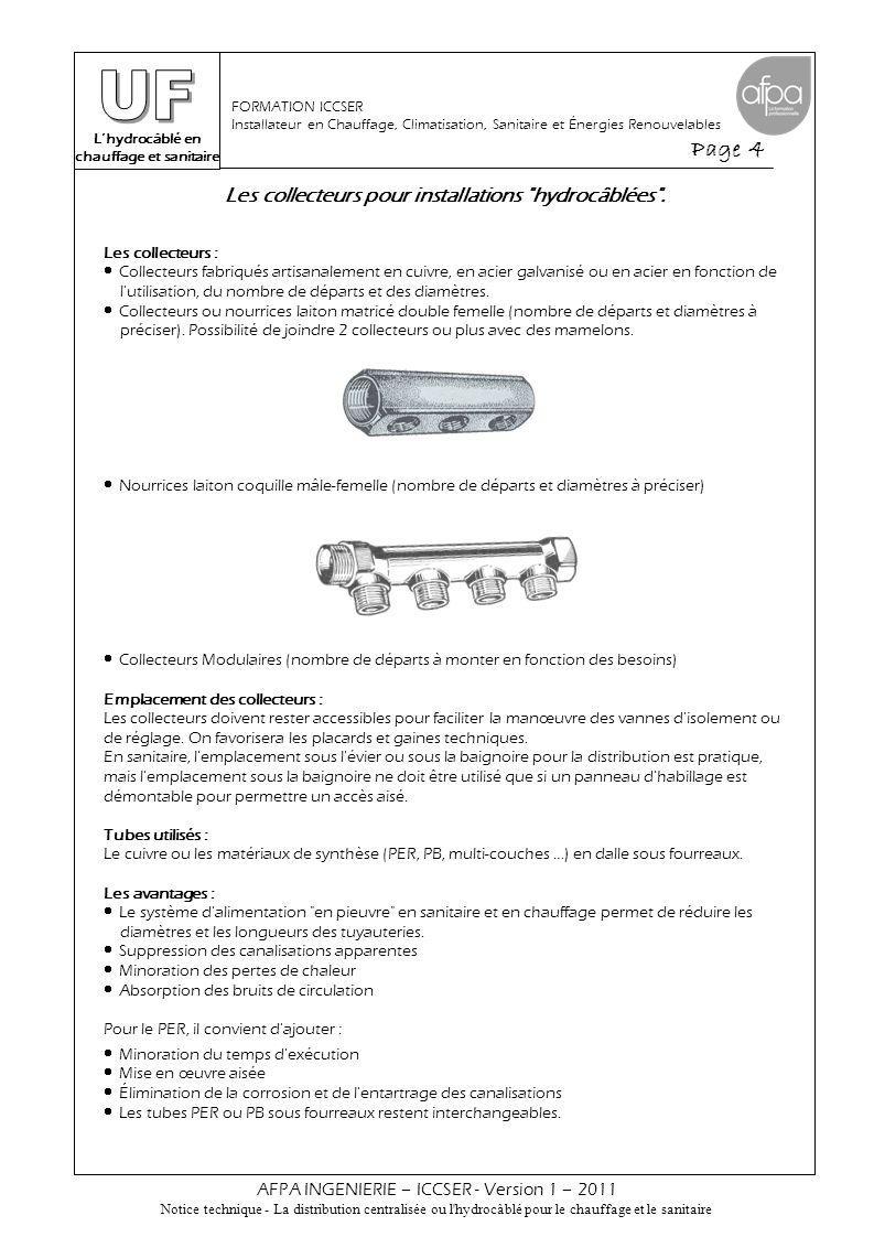 L'hydrocâblé en chauffage et sanitaire Page 5 AFPA INGENIERIE – ICCSER - Version 1 – 2011 Notice technique - La distribution centralisée ou l hydrocâblé pour le chauffage et le sanitaire FORMATION ICCSER Installateur en Chauffage, Climatisation, Sanitaire et Énergies Renouvelables Les collecteurs pour installations hydrocâblées .