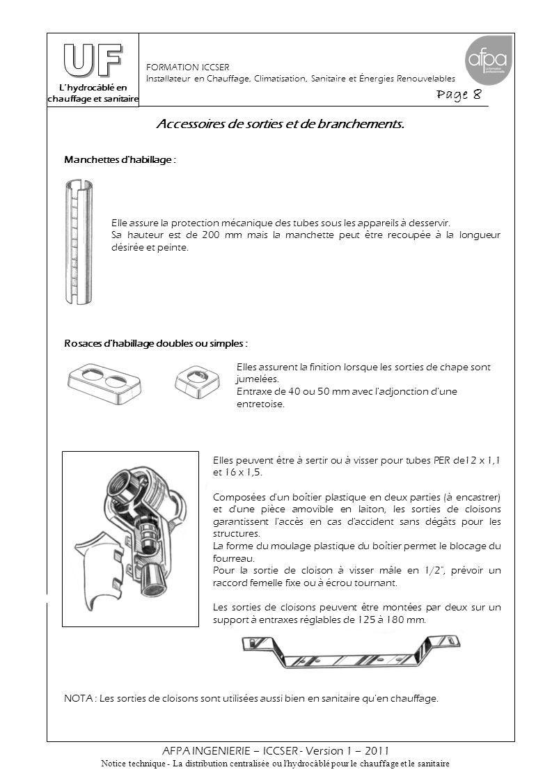 L'hydrocâblé en chauffage et sanitaire Page 9 AFPA INGENIERIE – ICCSER - Version 1 – 2011 Notice technique - La distribution centralisée ou l hydrocâblé pour le chauffage et le sanitaire FORMATION ICCSER Installateur en Chauffage, Climatisation, Sanitaire et Énergies Renouvelables Techniques de raccordement.