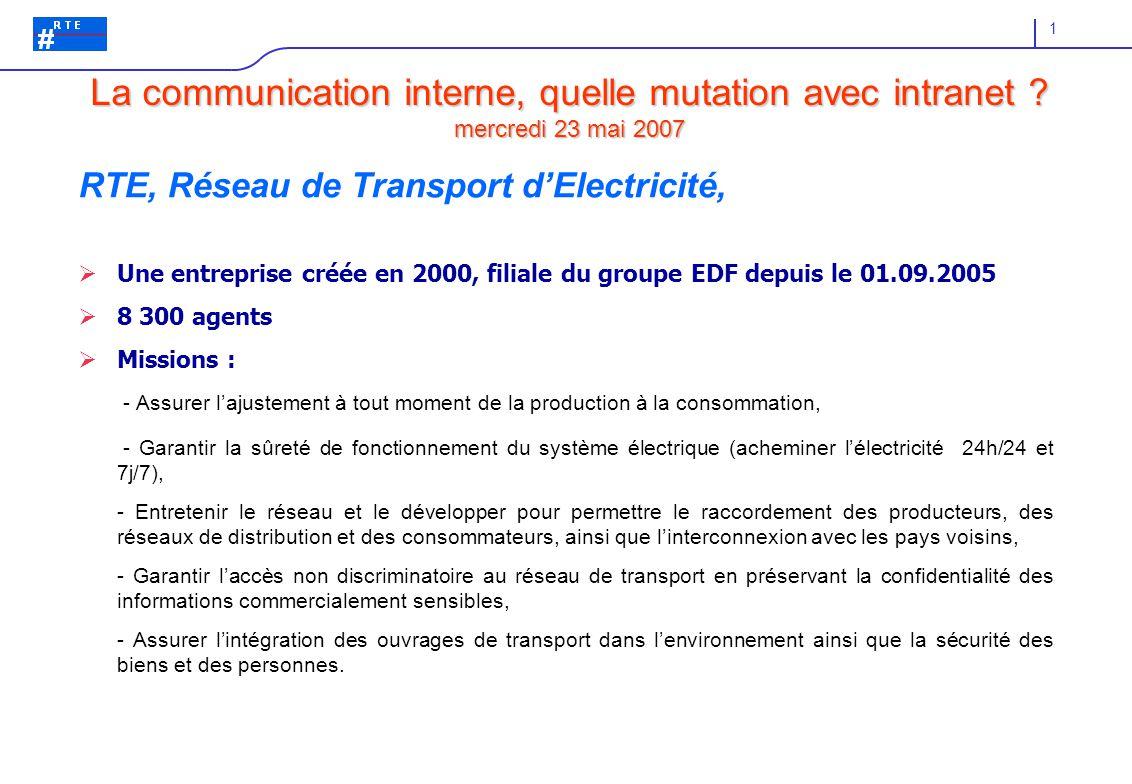1 RTE, Réseau de Transport d'Electricité,  Une entreprise créée en 2000, filiale du groupe EDF depuis le 01.09.2005  8 300 agents  Missions : - Assurer l'ajustement à tout moment de la production à la consommation, - Garantir la sûreté de fonctionnement du système électrique (acheminer l'électricité 24h/24 et 7j/7), - Entretenir le réseau et le développer pour permettre le raccordement des producteurs, des réseaux de distribution et des consommateurs, ainsi que l'interconnexion avec les pays voisins, - Garantir l'accès non discriminatoire au réseau de transport en préservant la confidentialité des informations commercialement sensibles, - Assurer l'intégration des ouvrages de transport dans l'environnement ainsi que la sécurité des biens et des personnes.