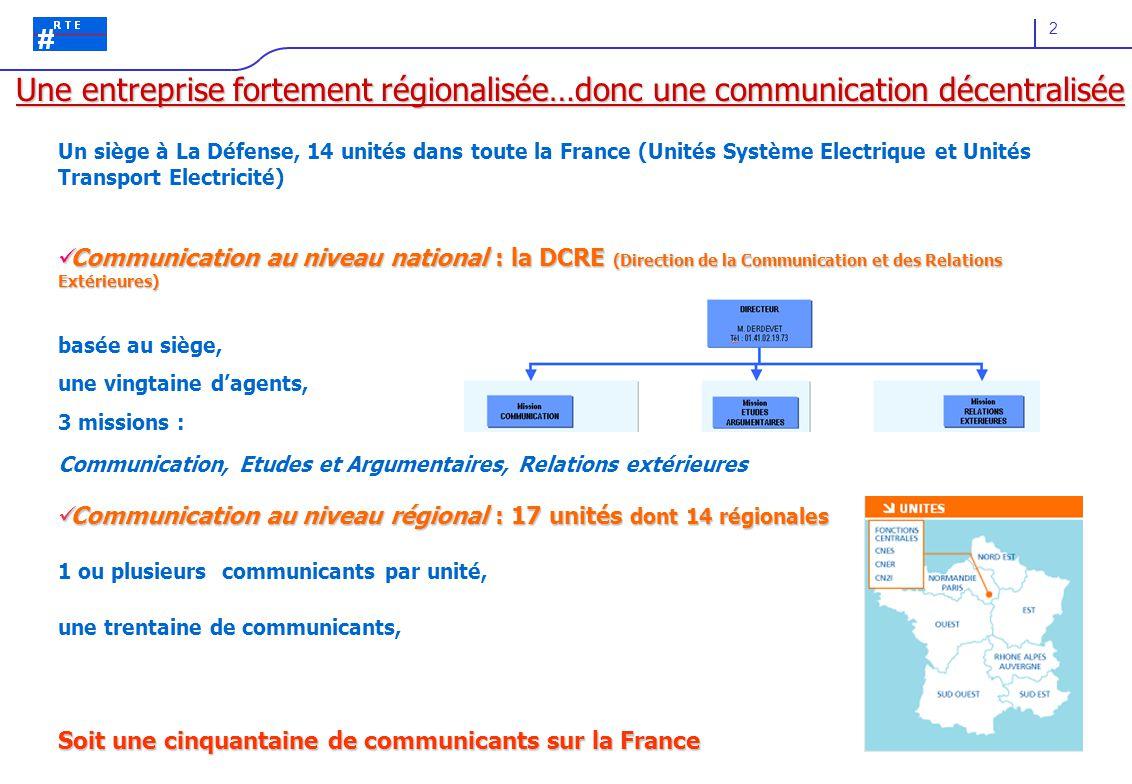 2 Un siège à La Défense, 14 unités dans toute la France (Unités Système Electrique et Unités Transport Electricité) Communication au niveau national :