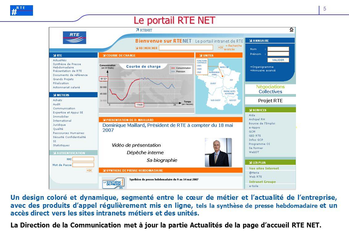 5 Le portail RTE NET Un design coloré et dynamique, segmenté entre le cœur de métier et l'actualité de l'entreprise, avec des produits d'appel régulièrement mis en ligne, tels la synthèse de presse hebdomadaire et un accès direct vers les sites intranets métiers et des unités.