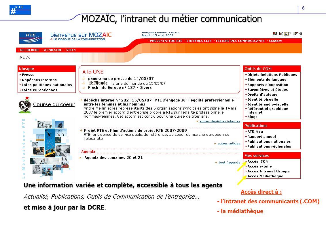 6 MOZAÏC, l'intranet du métier communication Accès direct à : - l'intranet des communicants (.COM) - la médiathèque Une information variée et complète
