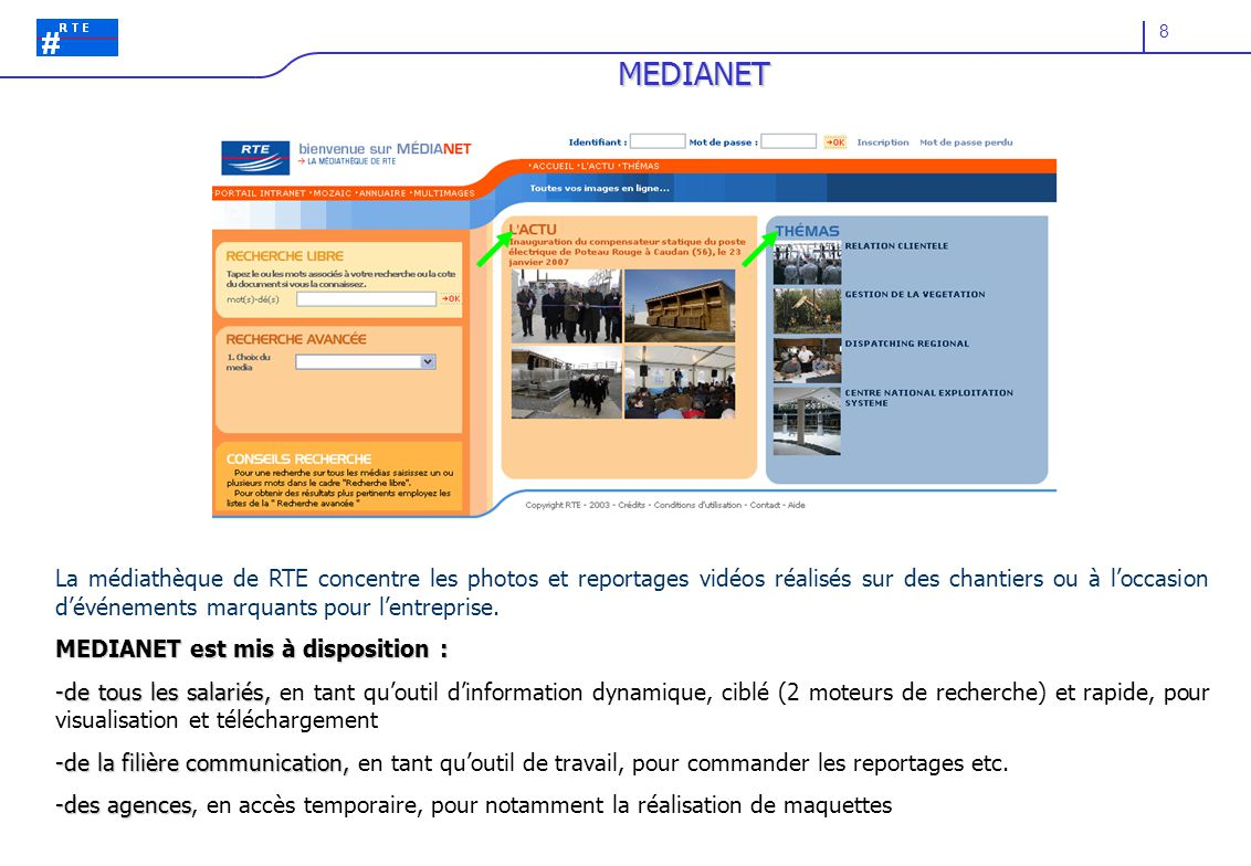 8 MEDIANET La médiathèque de RTE concentre les photos et reportages vidéos réalisés sur des chantiers ou à l'occasion d'événements marquants pour l'entreprise.