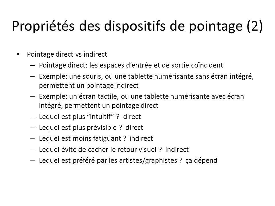 Propriétés des dispositifs de pointage (2) Pointage direct vs indirect – Pointage direct: les espaces d'entrée et de sortie coïncident – Exemple: une souris, ou une tablette numérisante sans écran intégré, permettent un pointage indirect – Exemple: un écran tactile, ou une tablette numérisante avec écran intégré, permettent un pointage direct – Lequel est plus intuitif .