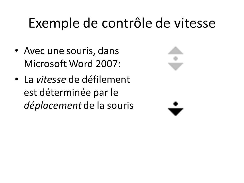 Exemple de contrôle de vitesse Avec une souris, dans Microsoft Word 2007: La vitesse de défilement est déterminée par le déplacement de la souris