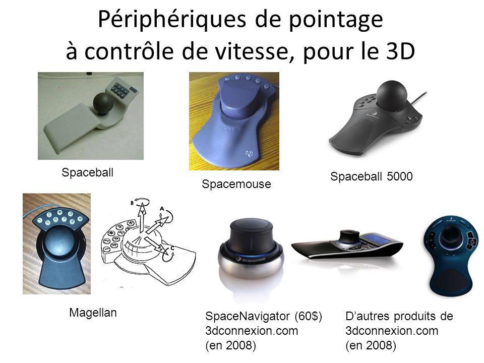 Périphériques de pointage à contrôle de vitesse, pour le 3D Spaceball Spacemouse Spaceball 5000 Magellan SpaceNavigator (60$) 3dconnexion.com (en 2008) D'autres produits de 3dconnexion.com (en 2008)
