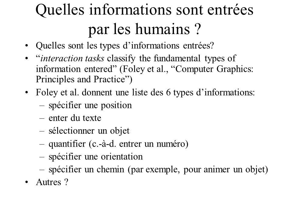 Quelles informations sont entrées par les humains .