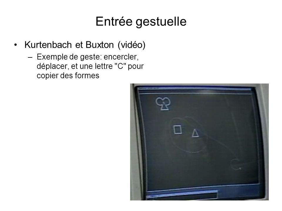 Entrée gestuelle Kurtenbach et Buxton (vidéo) –Exemple de geste: encercler, déplacer, et une lettre C pour copier des formes