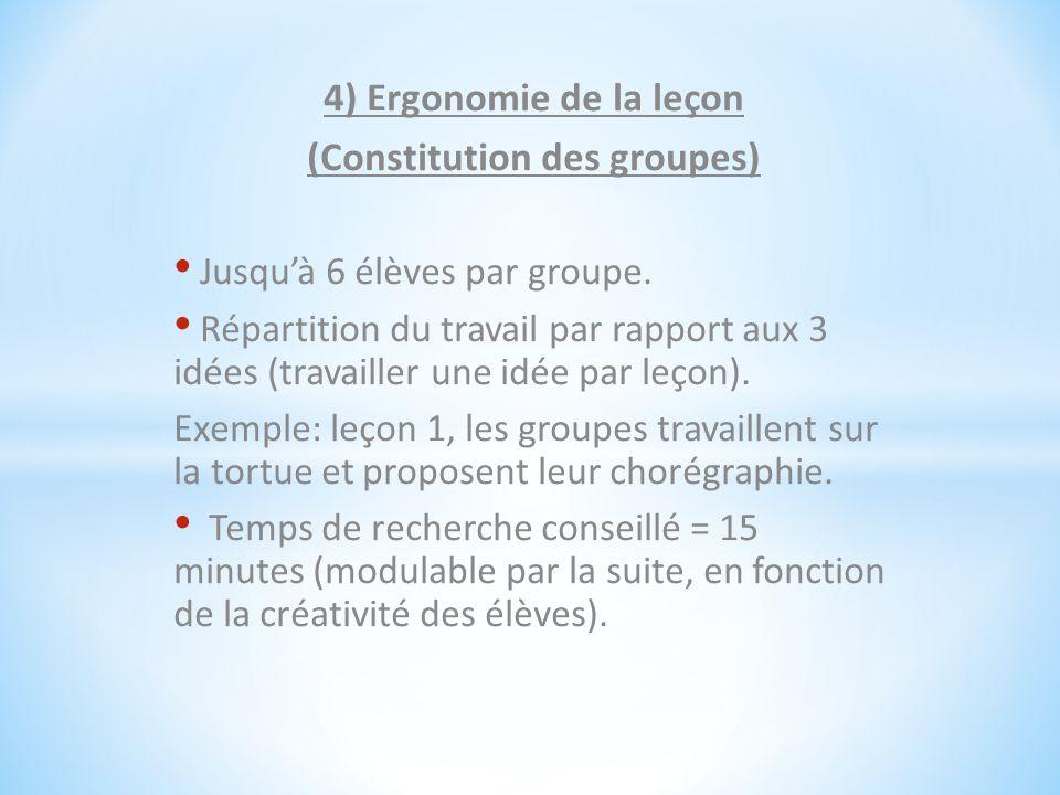 4) Ergonomie de la leçon (Constitution des groupes) Jusqu'à 6 élèves par groupe. Répartition du travail par rapport aux 3 idées (travailler une idée p