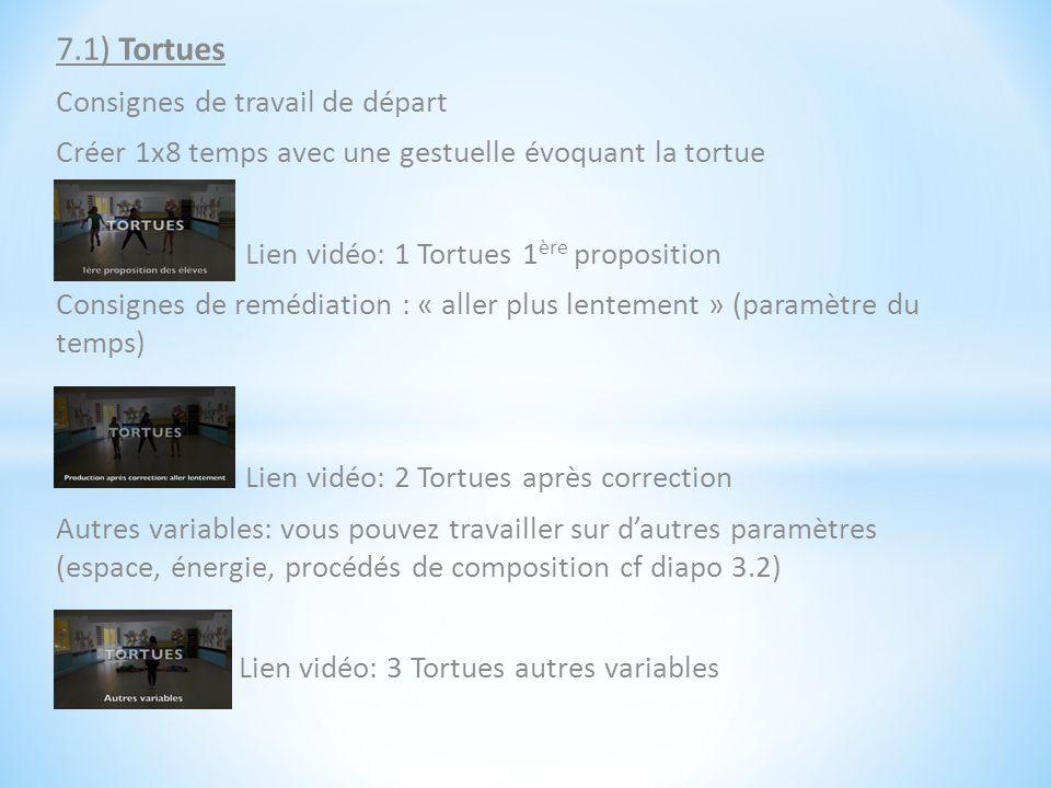 7.1) Tortues Consignes de travail de départ Créer 1x8 temps avec une gestuelle évoquant la tortue Lien vidéo: 1 Tortues 1 ère proposition Consignes de