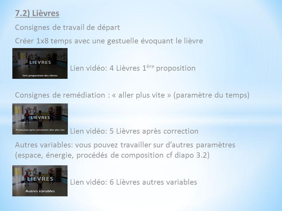 7.2) Lièvres Consignes de travail de départ Créer 1x8 temps avec une gestuelle évoquant le lièvre Lien vidéo: 4 Lièvres 1 ère proposition Consignes de