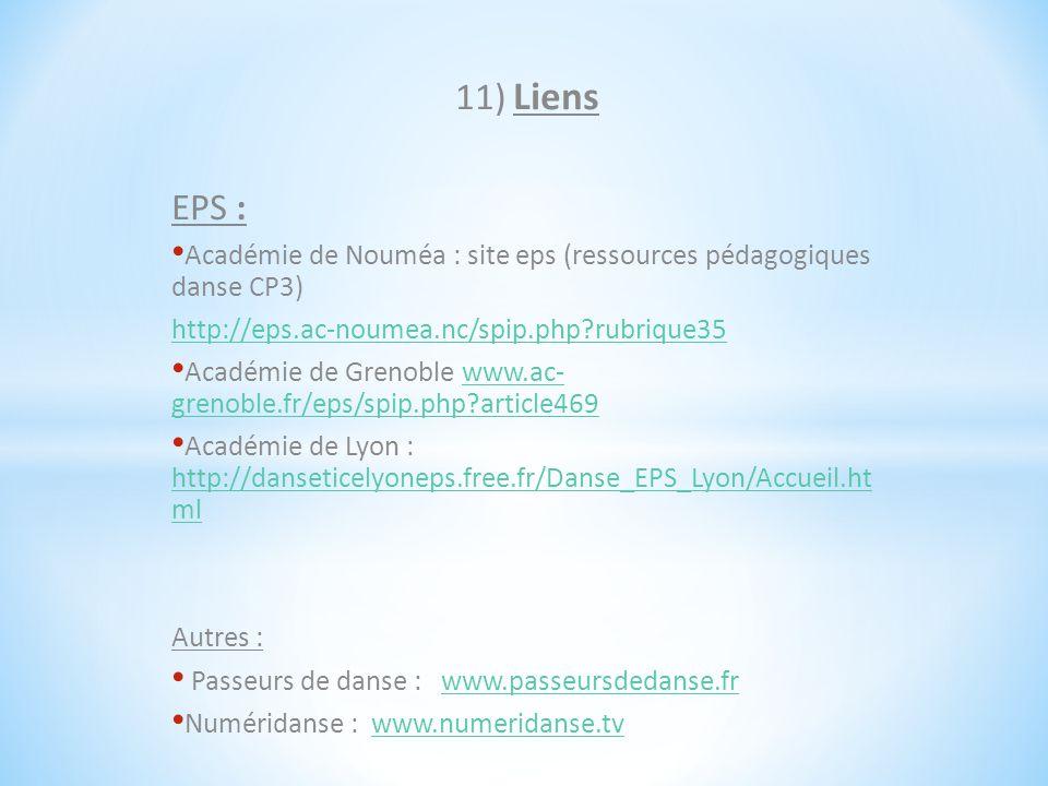 11) Liens EPS : Académie de Nouméa : site eps (ressources pédagogiques danse CP3) http://eps.ac-noumea.nc/spip.php?rubrique35 Académie de Grenoble www