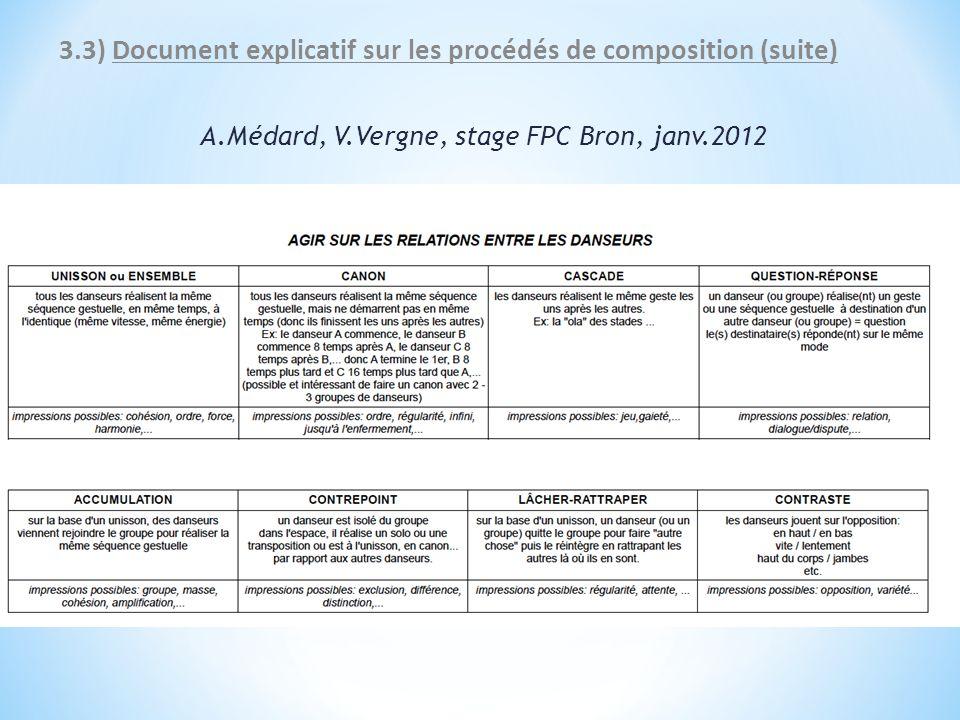 3.3) Document explicatif sur les procédés de composition (suite) A.Médard, V.Vergne, stage FPC Bron, janv.2012