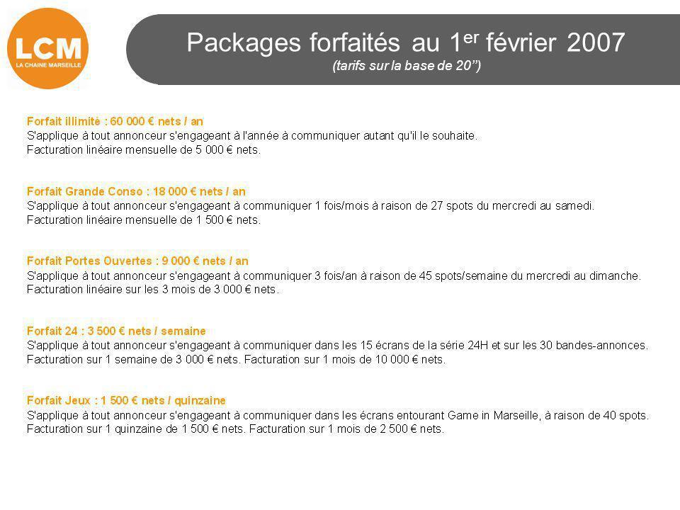 Packages forfaités au 1 er février 2007 (tarifs sur la base de 20'')
