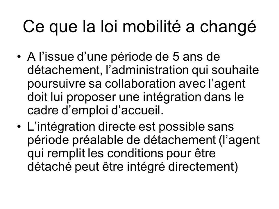 Ce que la loi mobilité a changé A l'issue d'une période de 5 ans de détachement, l'administration qui souhaite poursuivre sa collaboration avec l'agen