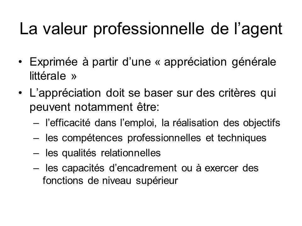 La valeur professionnelle de l'agent Exprimée à partir d'une « appréciation générale littérale » L'appréciation doit se baser sur des critères qui peu