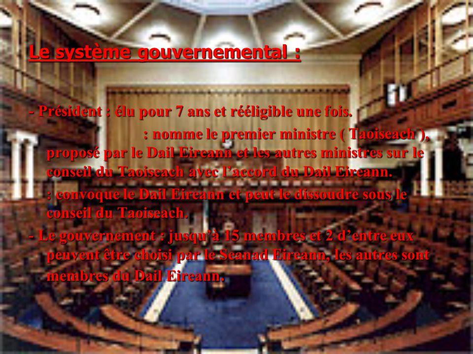 Le système gouvernemental : - Président : élu pour 7 ans et rééligible une fois. : nomme le premier ministre ( Taoiseach ), proposé par le Dail Eirean