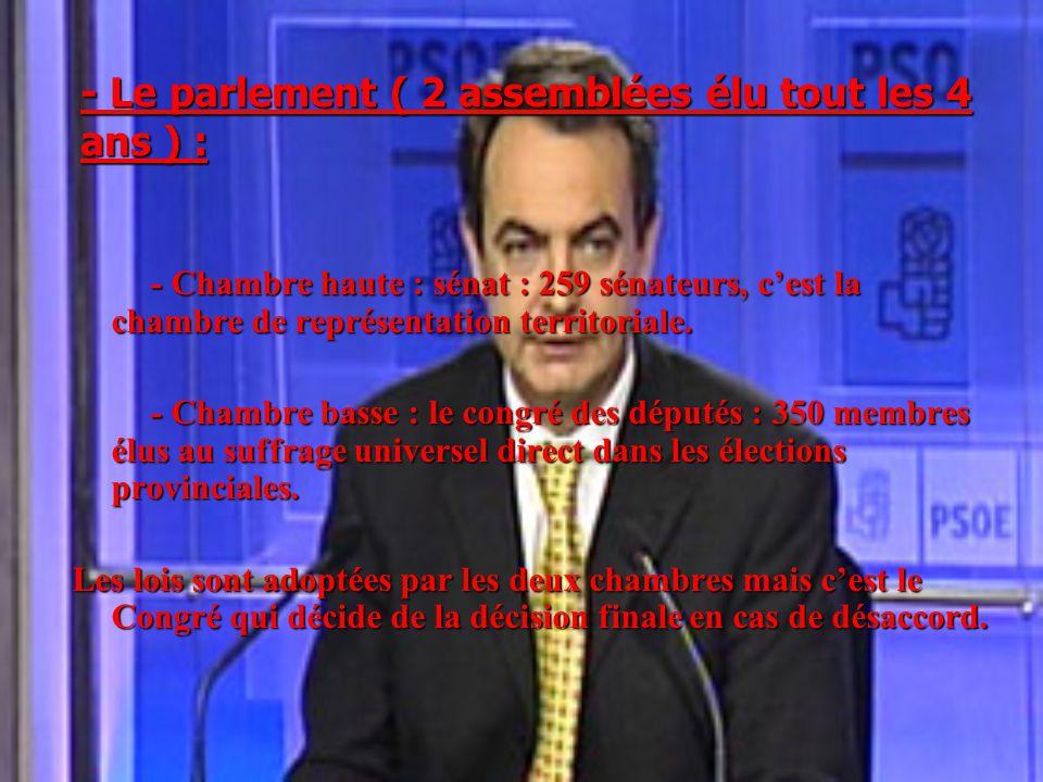 - Le parlement ( 2 assemblées élu tout les 4 ans ) : - Chambre haute : sénat : 259 sénateurs, c'est la chambre de représentation territoriale. - Chamb