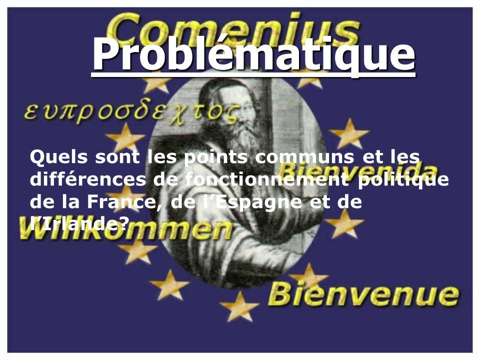 SOMMAIRE I) Le fonctionnement politique des différents pays 1) La France 2) L'Irlande 3) L'Espagne II) Tableaux comparatif
