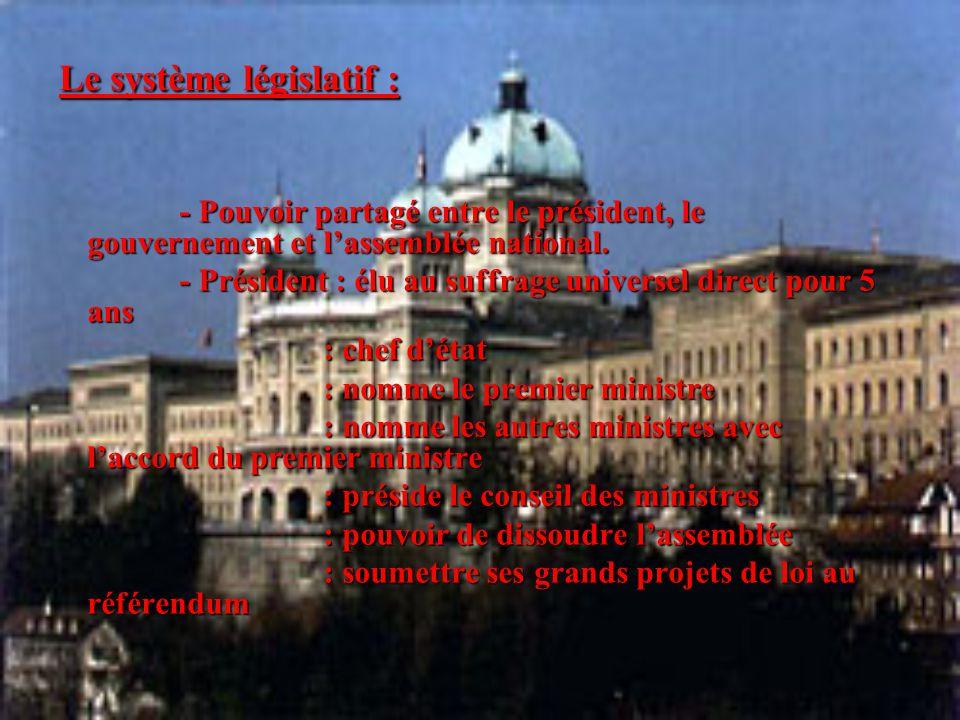 Le système législatif : - Pouvoir partagé entre le président, le gouvernement et l'assemblée national. - Pouvoir partagé entre le président, le gouver