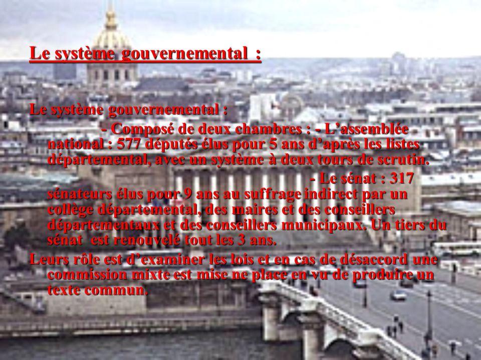 Le système gouvernemental : - Composé de deux chambres : - L'assemblée national : 577 députés élus pour 5 ans d'après les listes départemental, avec u