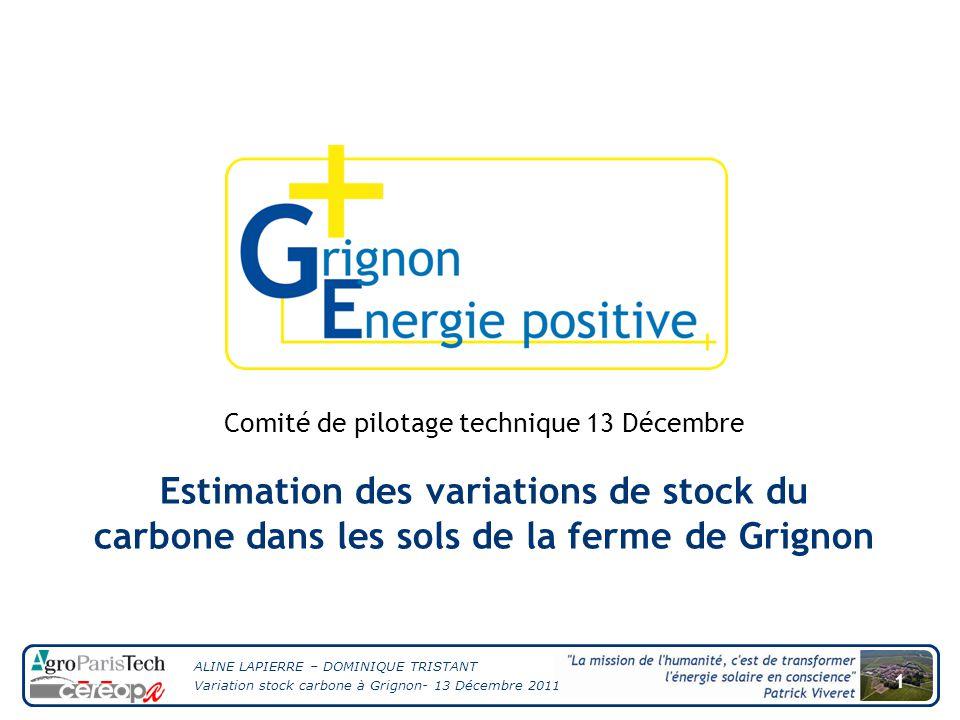 ALINE LAPIERRE – DOMINIQUE TRISTANT Variation stock carbone à Grignon- 13 Décembre 2011 1 Estimation des variations de stock du carbone dans les sols de la ferme de Grignon Comité de pilotage technique 13 Décembre