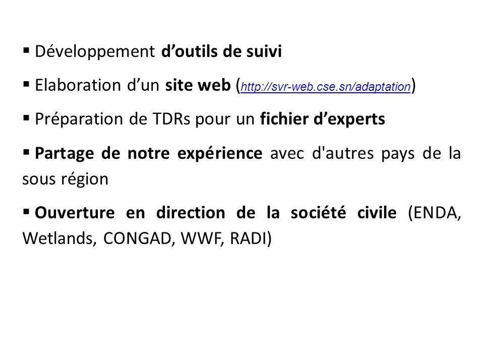 Développement d'outils de suivi  Elaboration d'un site web ( http://svr-web.cse.sn/adaptation ) http://svr-web.cse.sn/adaptation  Préparation de TDRs pour un fichier d'experts  Partage de notre expérience avec d autres pays de la sous région  Ouverture en direction de la société civile (ENDA, Wetlands, CONGAD, WWF, RADI)