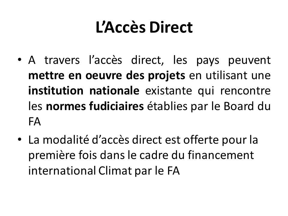 L'Accès Direct A travers l'accès direct, les pays peuvent mettre en oeuvre des projets en utilisant une institution nationale existante qui rencontre les normes fudiciaires établies par le Board du FA La modalité d'accès direct est offerte pour la première fois dans le cadre du financement international Climat par le FA