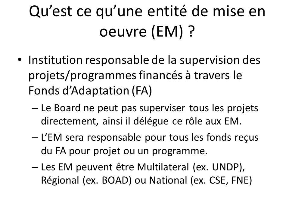 Qu'est ce qu'une entité de mise en oeuvre (EM) ? Institution responsable de la supervision des projets/programmes financés à travers le Fonds d'Adapta