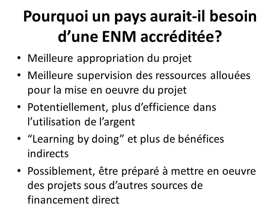 Pourquoi un pays aurait-il besoin d'une ENM accréditée? Meilleure appropriation du projet Meilleure supervision des ressources allouées pour la mise e