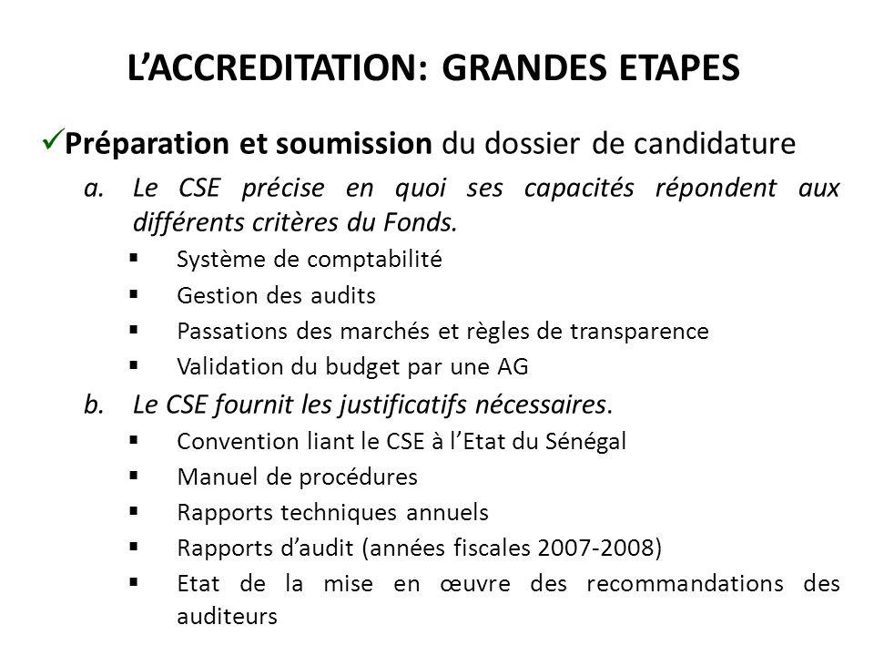 L'ACCREDITATION: GRANDES ETAPES Préparation et soumission du dossier de candidature a.Le CSE précise en quoi ses capacités répondent aux différents critères du Fonds.