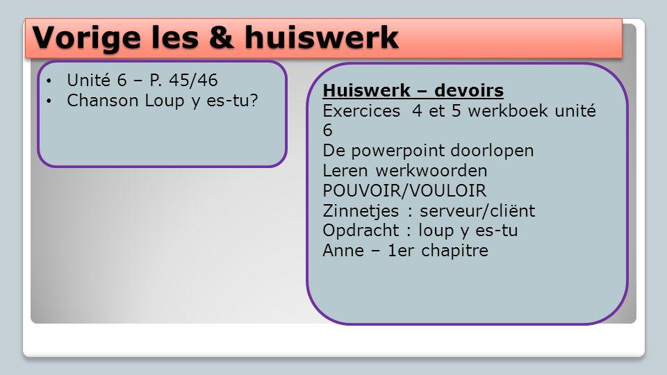 Vorige les & huiswerk Unité 6 – P.45/46 Chanson Loup y es-tu.