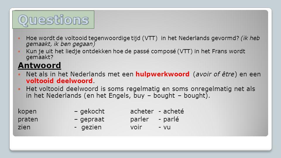 Hoe wordt de voltooid tegenwoordige tijd (VTT) in het Nederlands gevormd.