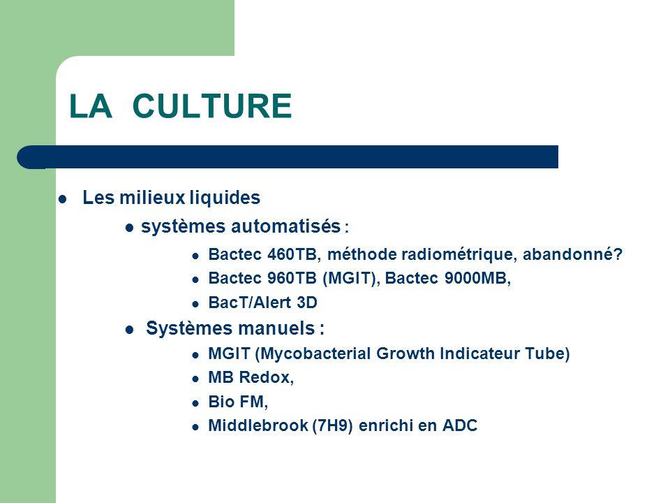LA CULTURE Les milieux liquides systèmes automatisés : Bactec 460TB, méthode radiométrique, abandonné? Bactec 960TB (MGIT), Bactec 9000MB, BacT/Alert